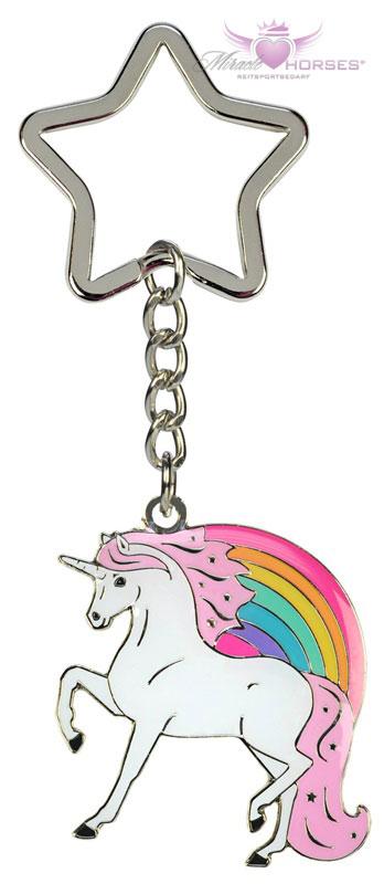 Silberner Einhorn Schlüsselanhänger mit bunter Mähne Metall Anhänger Einhorn