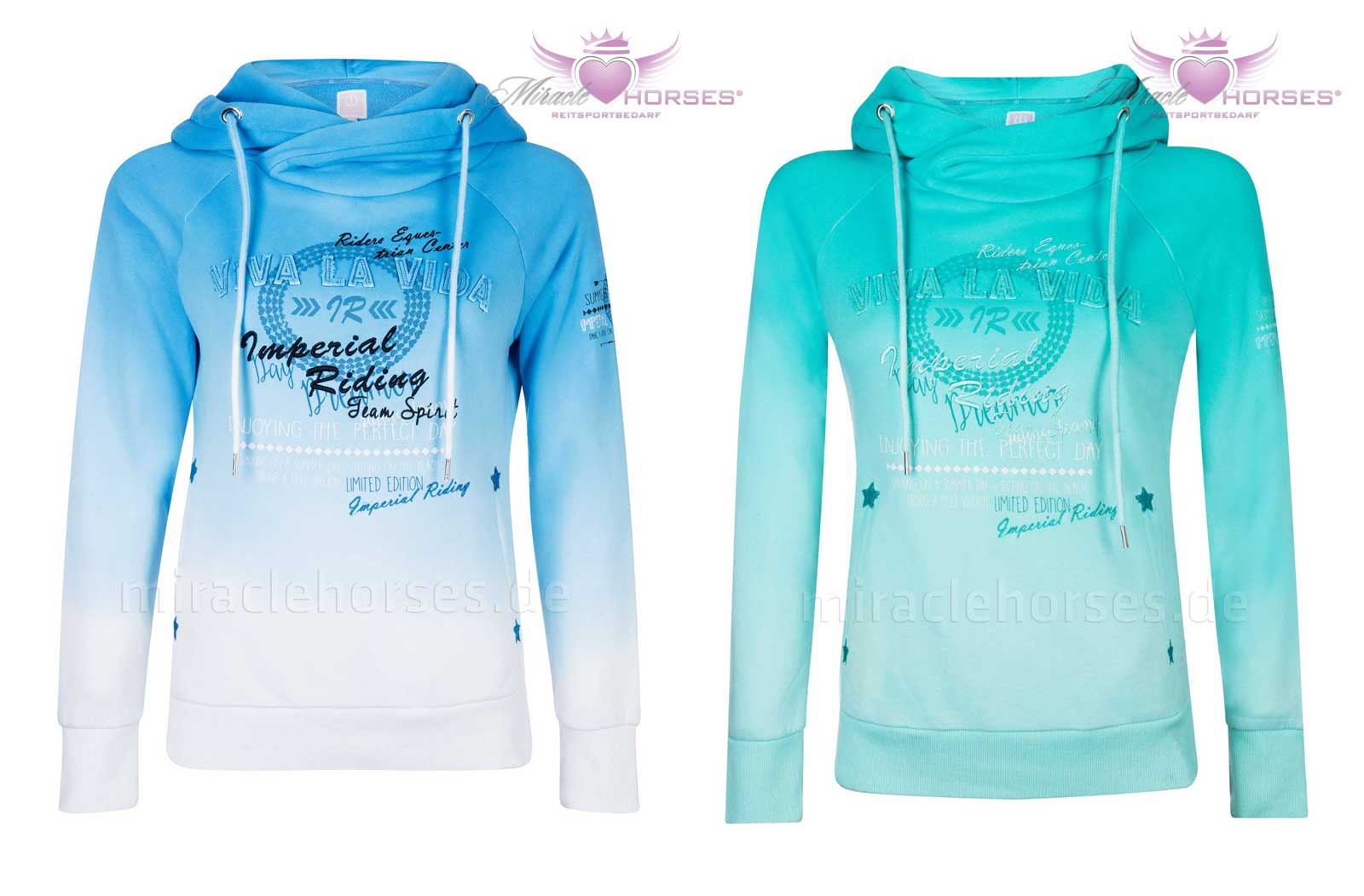 Imperial Riding PARCIVAL Damen Sweatshirt mit Kapuze Hoodie blau türkis NEU