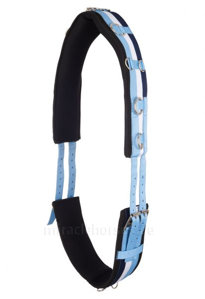 Imperial Riding Longiergurt (gestreift) mit Neoprenfutter, Blue Breeze